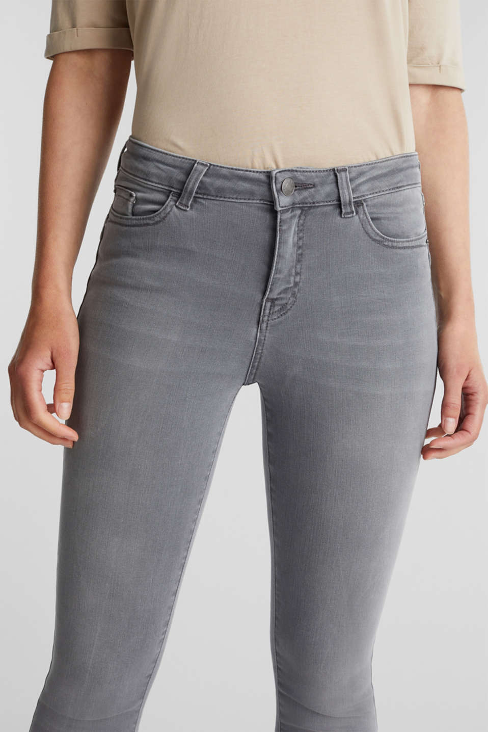Ankle-length shaping jeans, GREY DARK WASH, detail image number 2