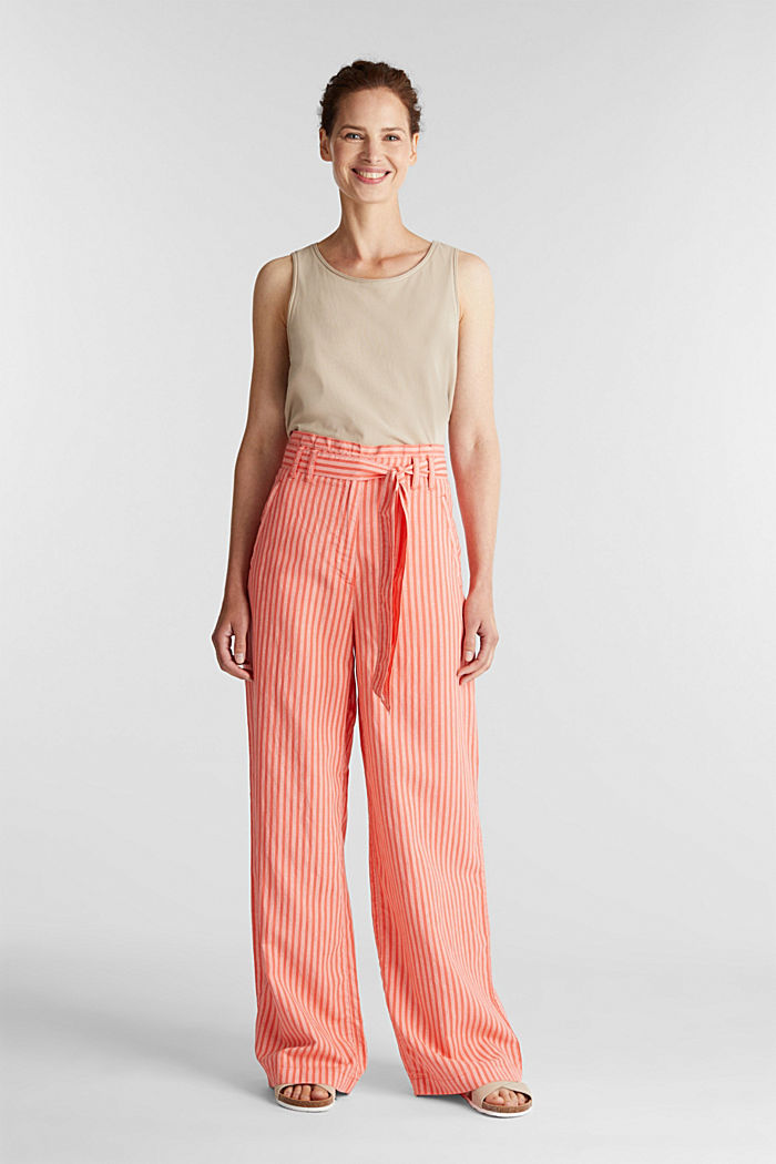Paperbag trousers, TENCEL™/linen, CORAL, detail image number 1