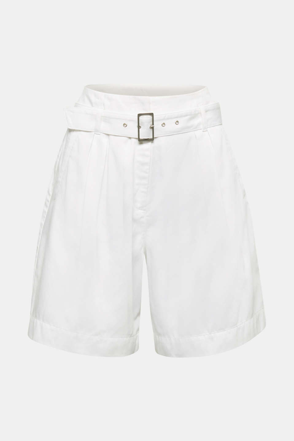 With TENCEL™: Paper bag shorts with a belt, WHITE, detail image number 7