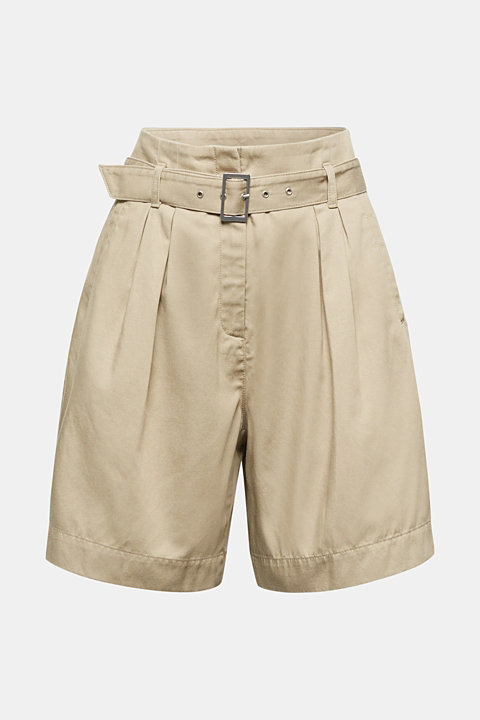 With TENCEL™: Paper bag shorts with a belt