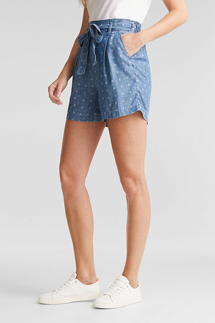 Aus TENCEL™: Shorts im Denim-Look, BLUE MEDIUM WASHED, detail image number 0