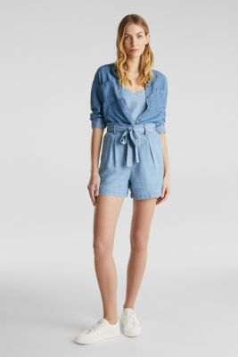 Made of TENCEL™: shorts in a denim look, BLUE BLEACHED, detail