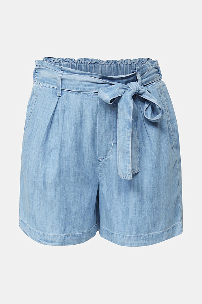 Made of TENCEL™: shorts in a denim look, BLUE BLEACHED, overview