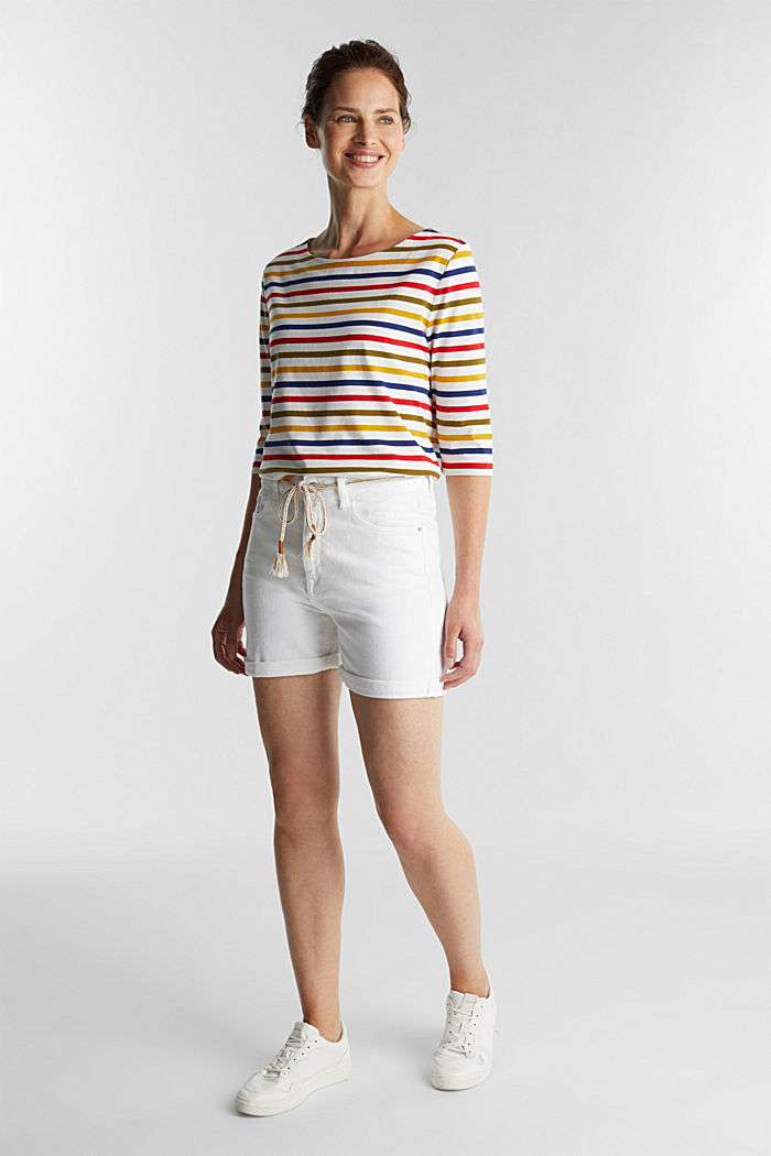 Denim shorts with organic cotton, WHITE, detail image number 1