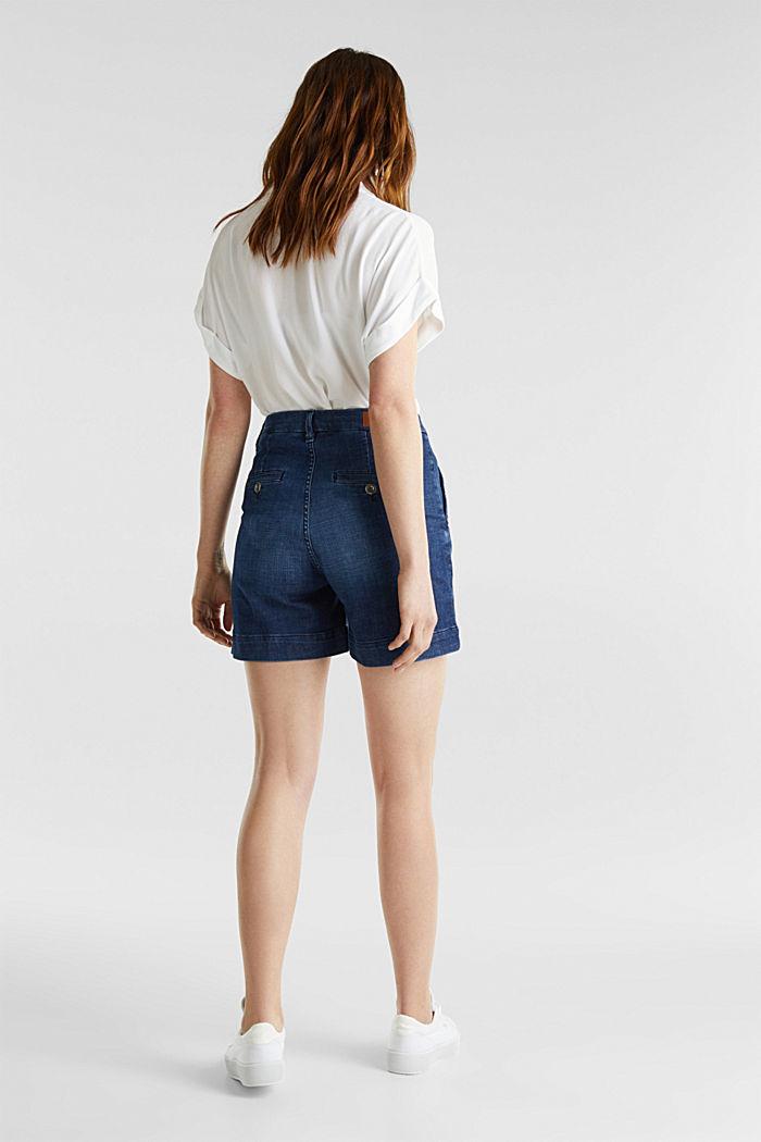 Shorts en tejido vaquero elástico, BLUE DARK WASHED, detail image number 3