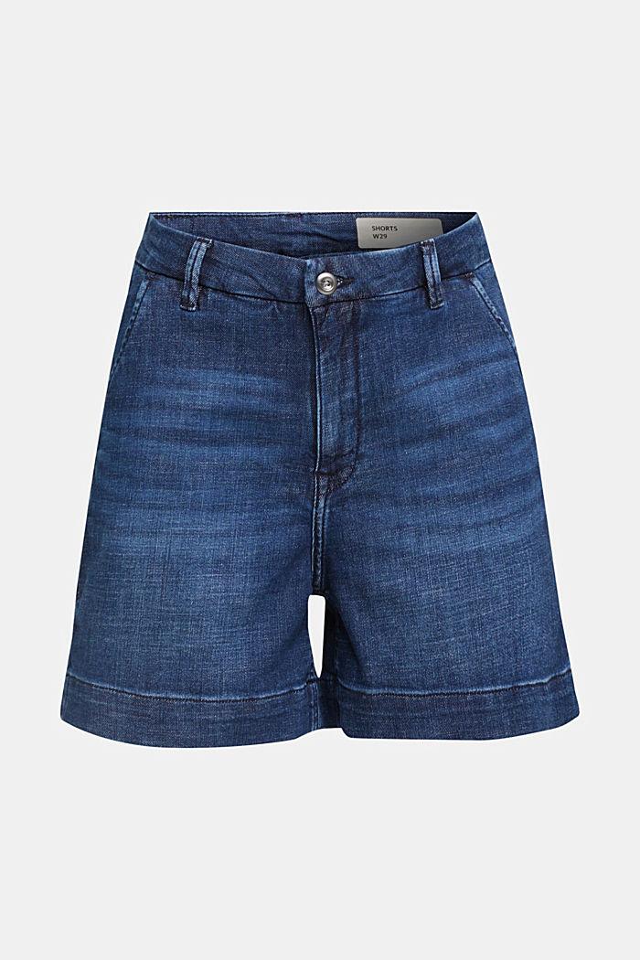 Shorts en tejido vaquero elástico, BLUE DARK WASHED, detail image number 5