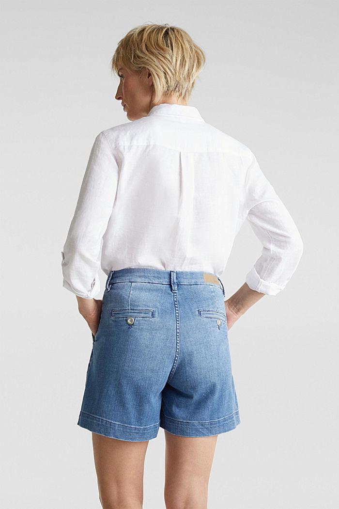 Stretch denim shorts, BLUE LIGHT WASHED, detail image number 3
