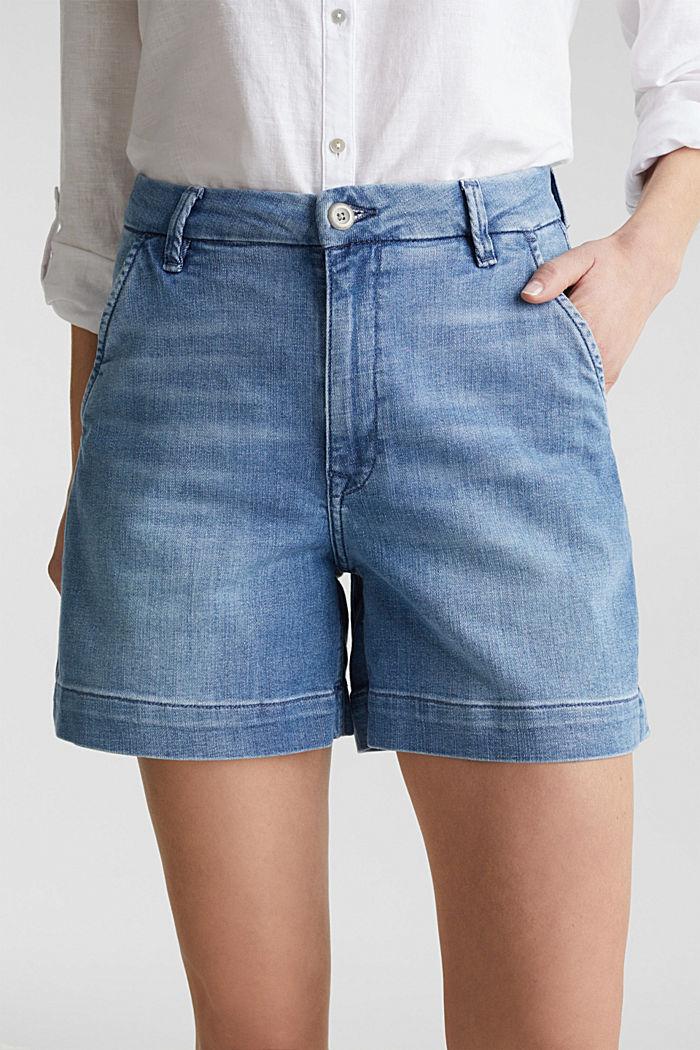 Stretch denim shorts, BLUE LIGHT WASHED, detail image number 2