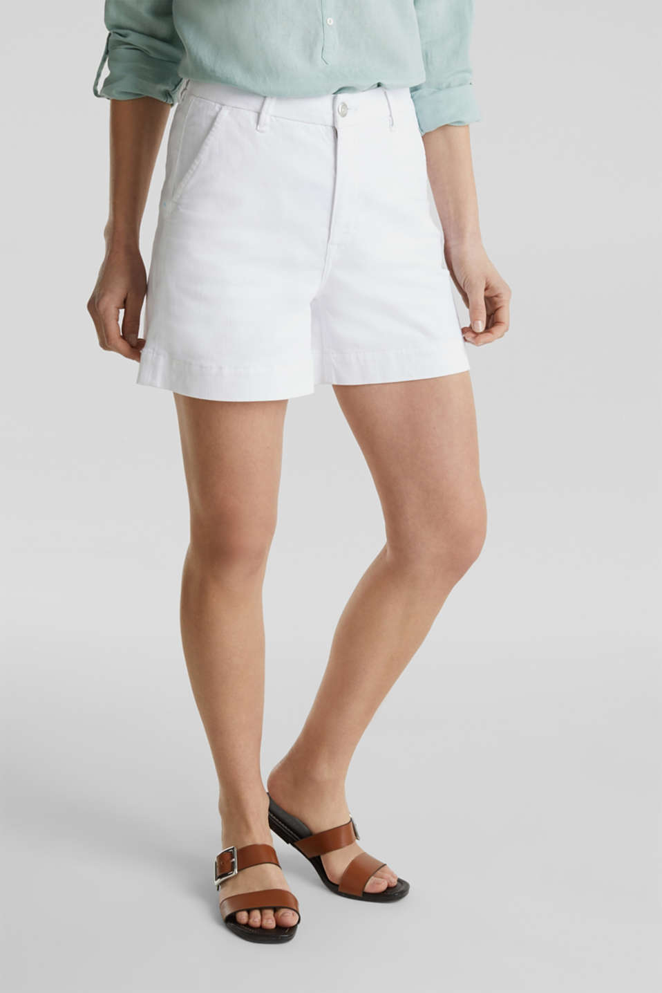 Denim shorts with Lycra®, WHITE, detail image number 6