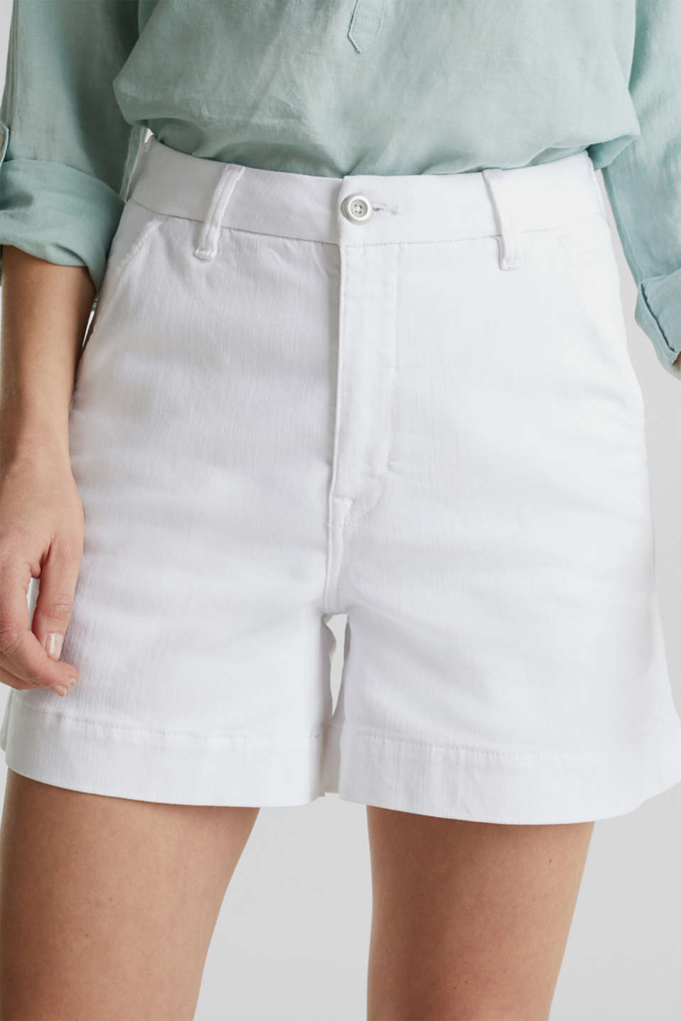 Denim shorts with Lycra®, WHITE, detail image number 2