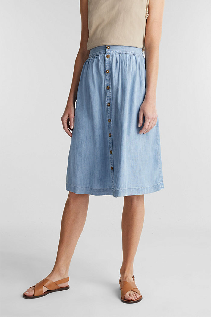 Denim-look skirt made of TENCEL™, BLUE BLEACHED, overview