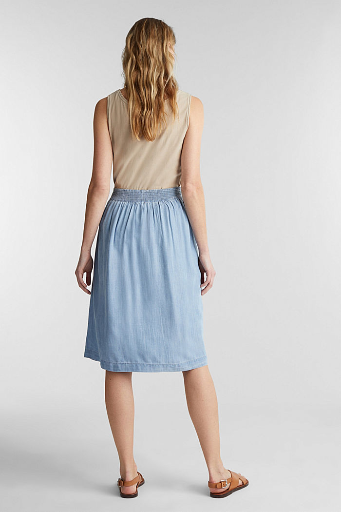 Denim-look skirt made of TENCEL™, BLUE BLEACHED, detail image number 3