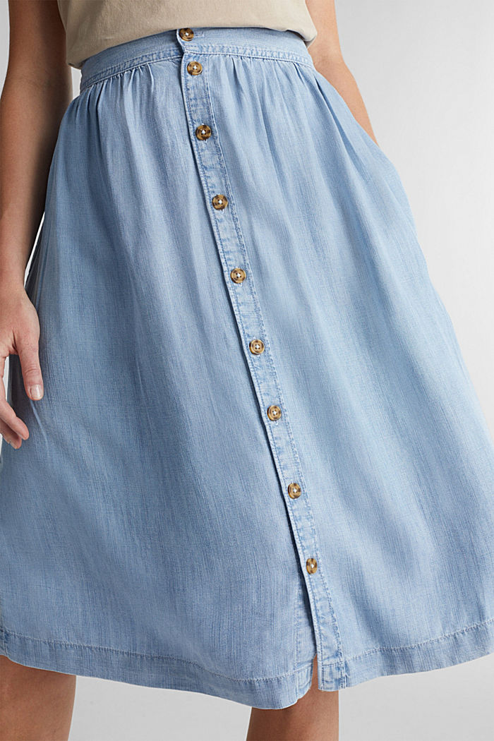 Denim-look skirt made of TENCEL™, BLUE BLEACHED, detail image number 2
