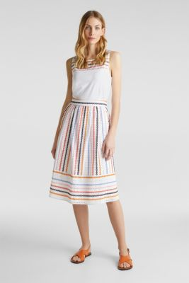 Skirt with embroidery, 100% cotton, WHITE, detail