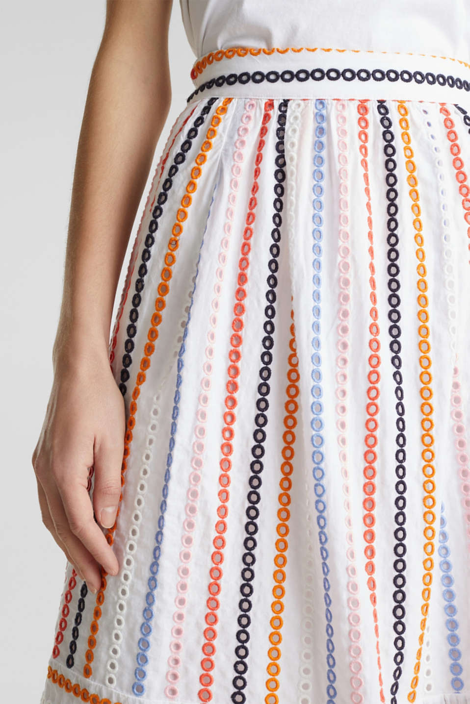 Skirt with embroidery, 100% cotton, WHITE, detail image number 1