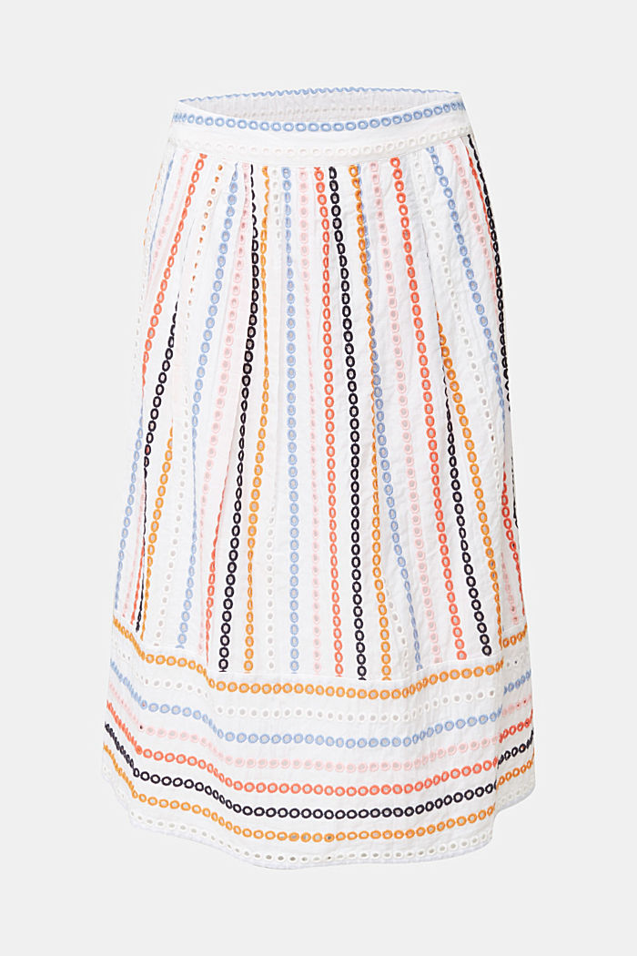 Skirt with embroidery, 100% cotton, WHITE, detail image number 4