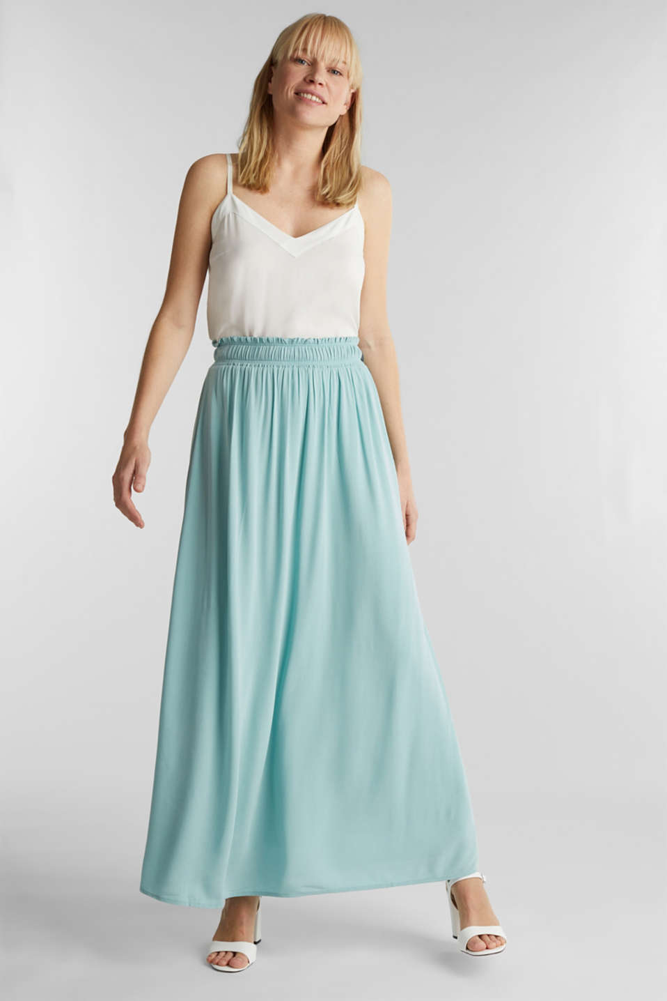 Maxi skirt in flowing crêpe, LIGHT AQUA GREEN, detail image number 0