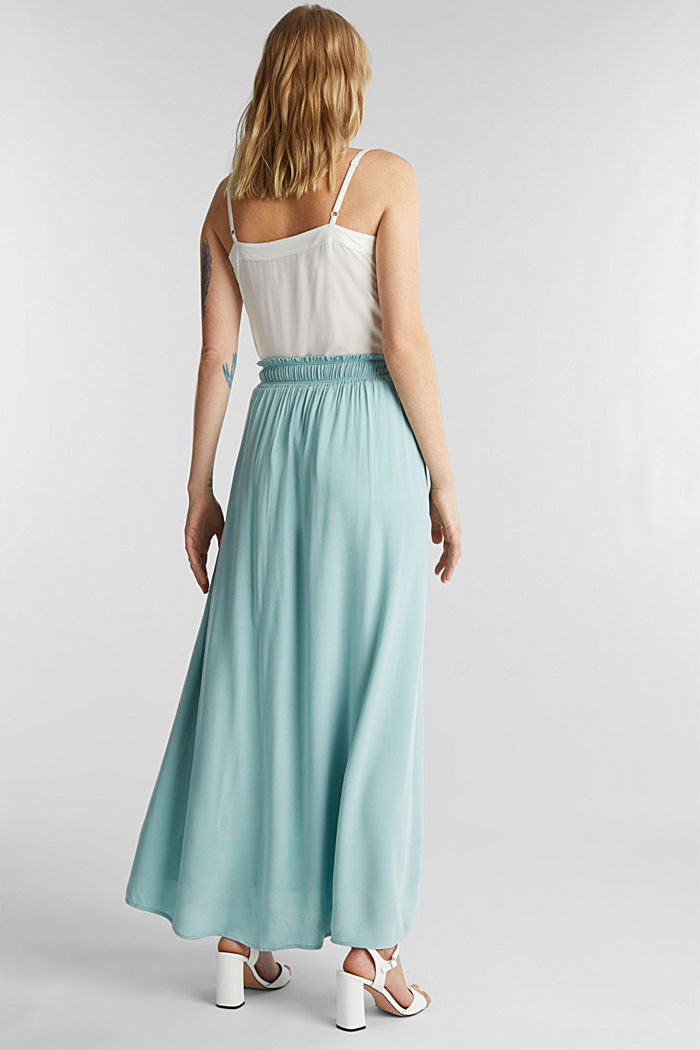 Maxi skirt in flowing crêpe, LIGHT AQUA GREEN, detail image number 3
