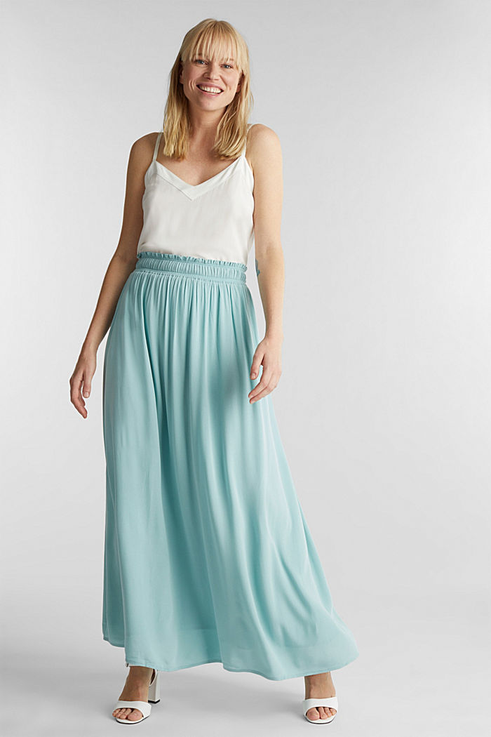 Maxi skirt in flowing crêpe, LIGHT AQUA GREEN, detail image number 1