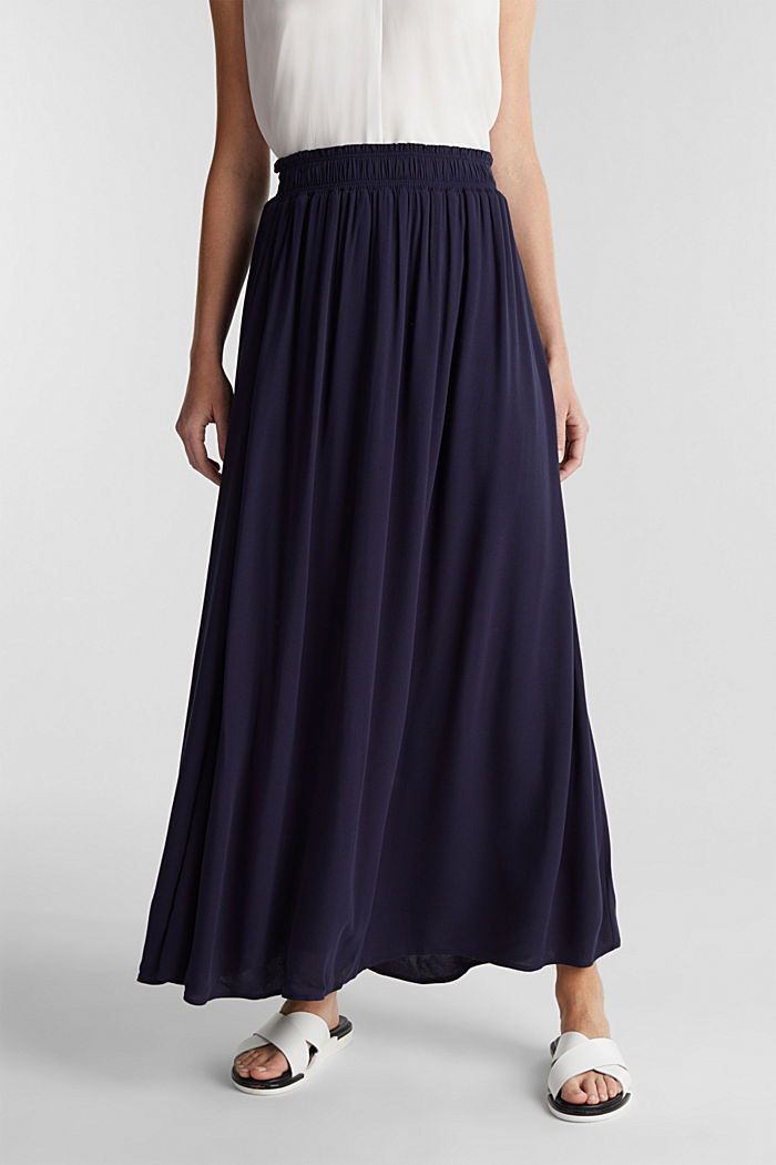 Maxi skirt in flowing crêpe, NAVY, overview