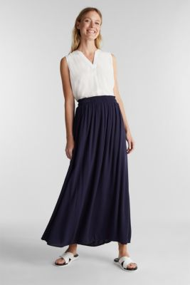 Maxi skirt in flowing crêpe, NAVY, detail