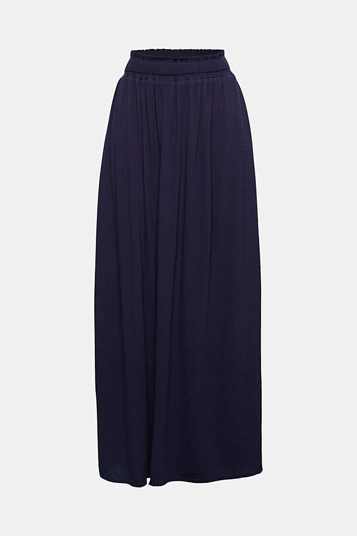 Maxi skirt in flowing crêpe, NAVY, detail image number 4