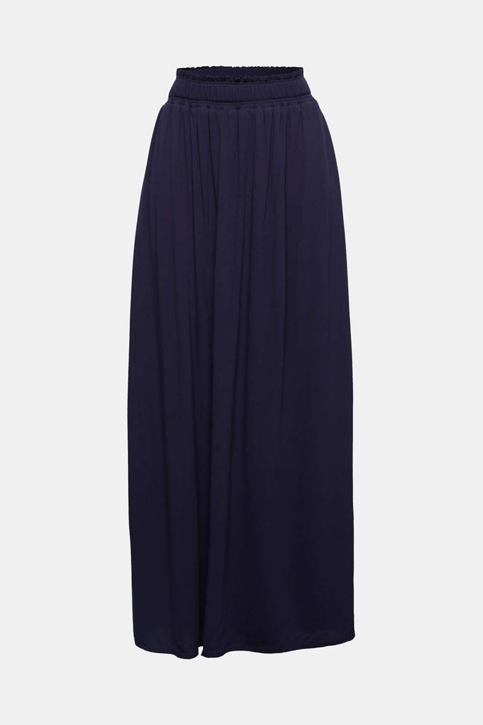 Maxi skirt in flowing crêpe, NAVY, detail image number 4