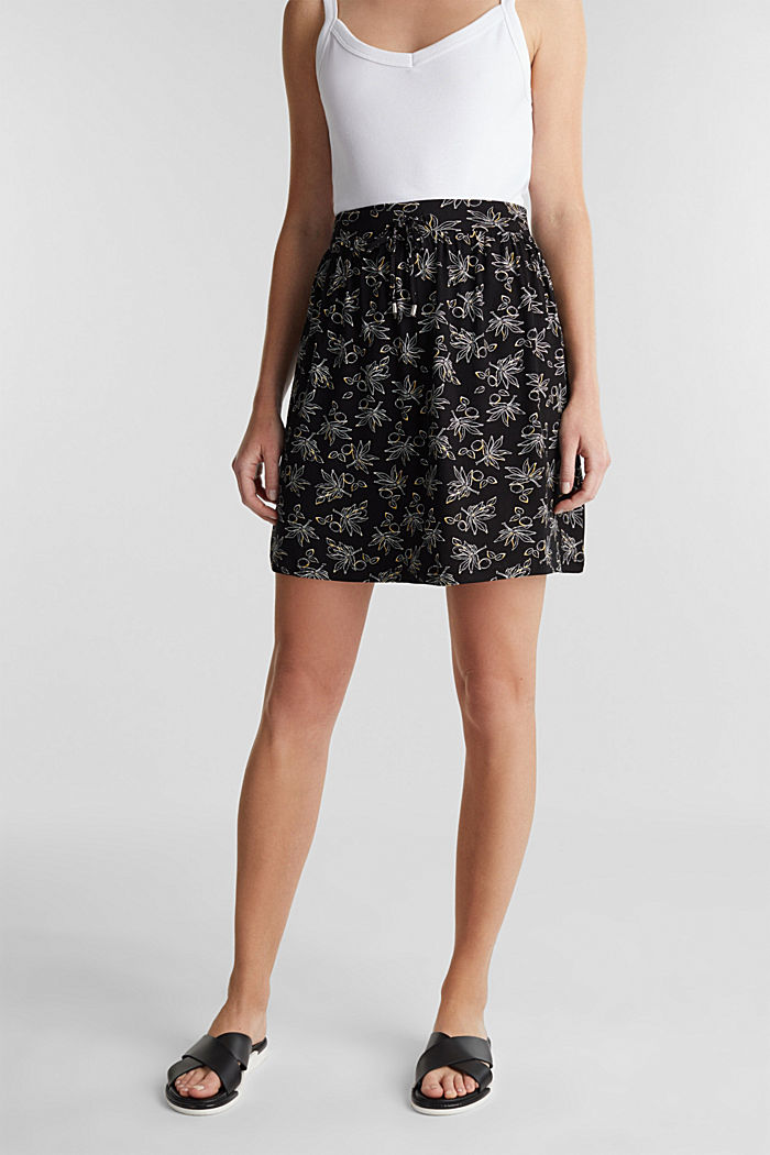 Flared jersey skirt, BLACK, detail image number 0