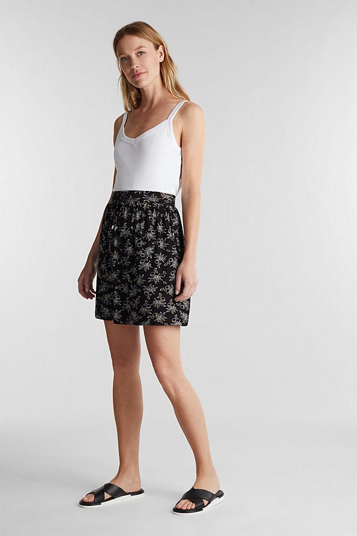 Flared jersey skirt, BLACK, detail image number 1