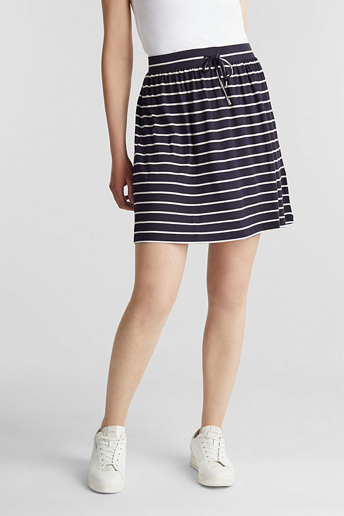 Flared jersey skirt, NAVY, overview