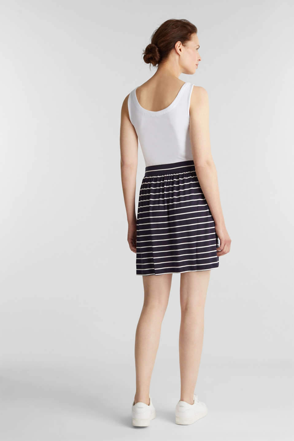 Flared jersey skirt, NAVY, detail image number 3
