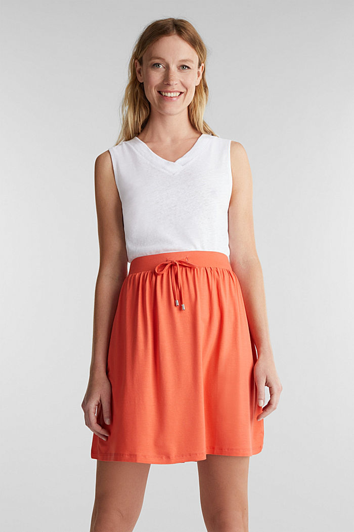 Flared jersey skirt, CORAL, detail image number 0