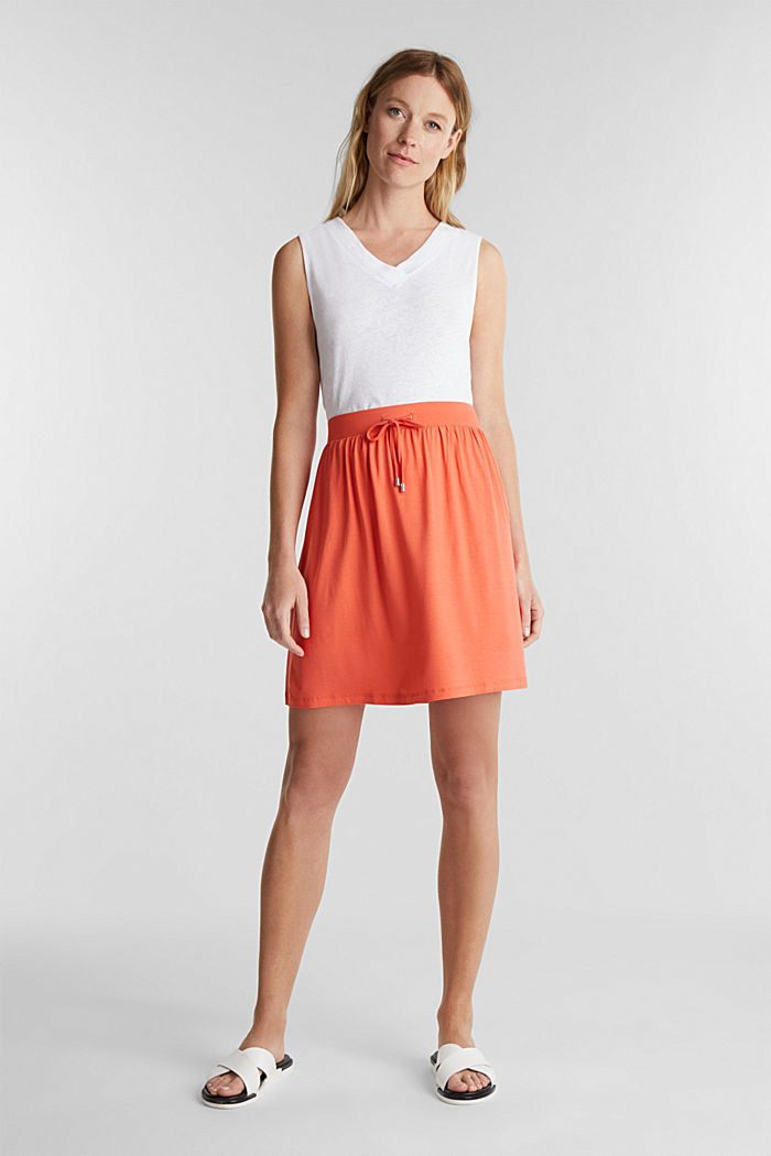 Flared jersey skirt, CORAL, detail image number 1