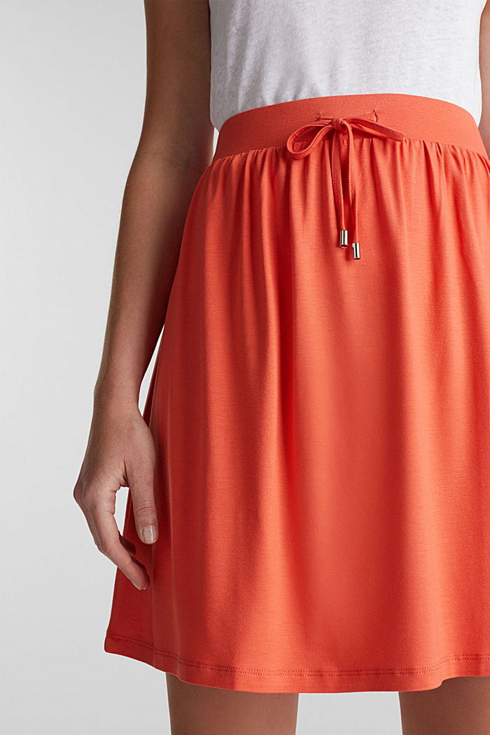 Flared jersey skirt, CORAL, detail image number 2