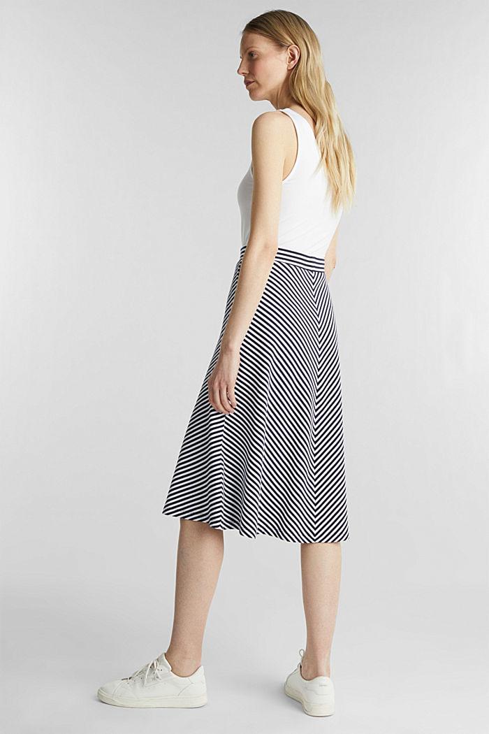 Pruhovaná žerzejová sukně v áčkové linii, NAVY, detail image number 2