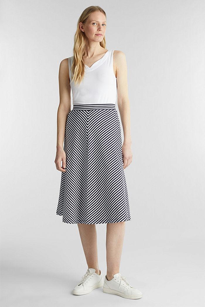 Pruhovaná žerzejová sukně v áčkové linii, NAVY, detail image number 4