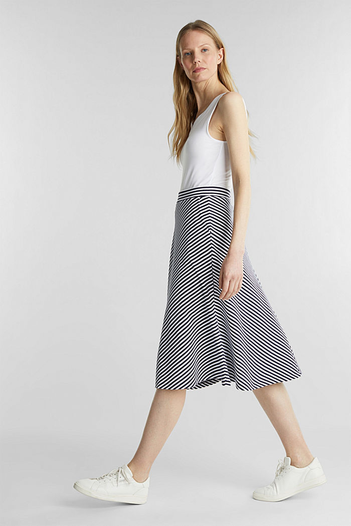 A-line skirt made of striped jersey, NAVY, detail image number 1