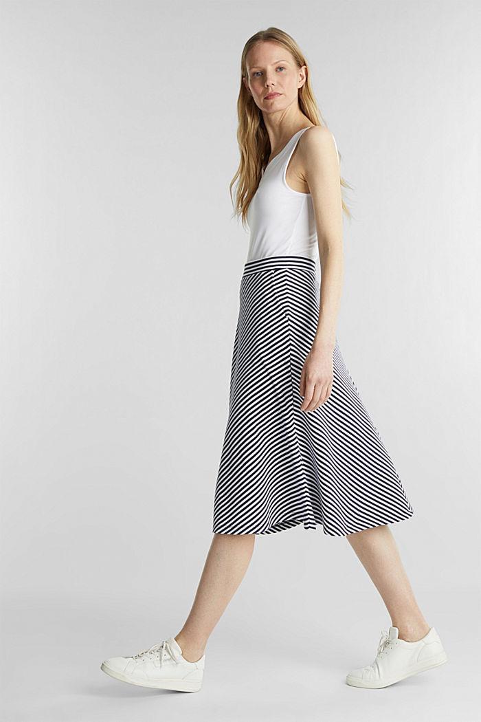 Pruhovaná žerzejová sukně v áčkové linii, NAVY, detail image number 1