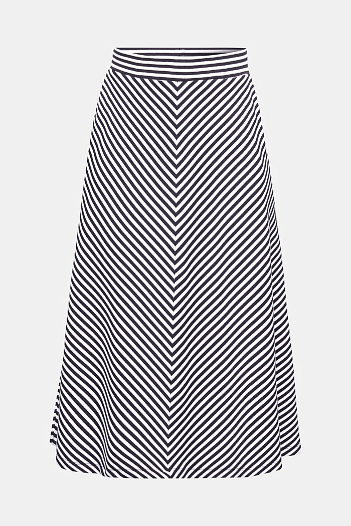 A-line skirt made of striped jersey