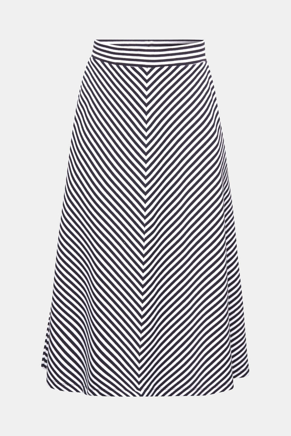 A-line skirt made of striped jersey, NAVY, detail image number 5