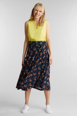 Stretch jersey skirt with a belt, NAVY, detail