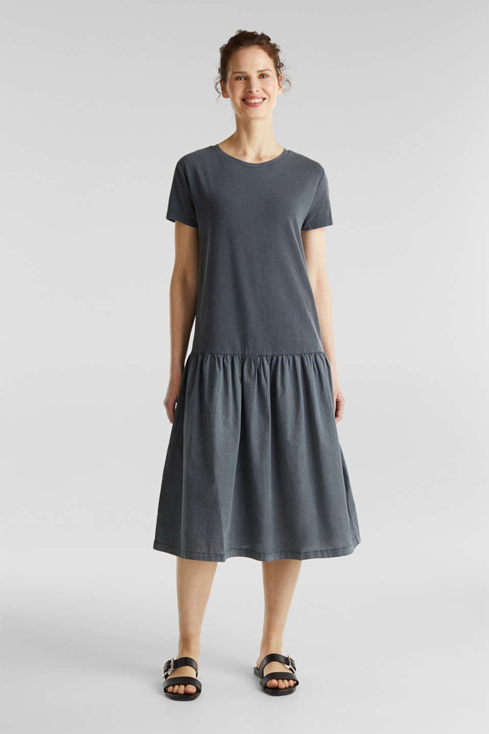 Midi dress made of jersey and cloth, GREY, detail image number 0