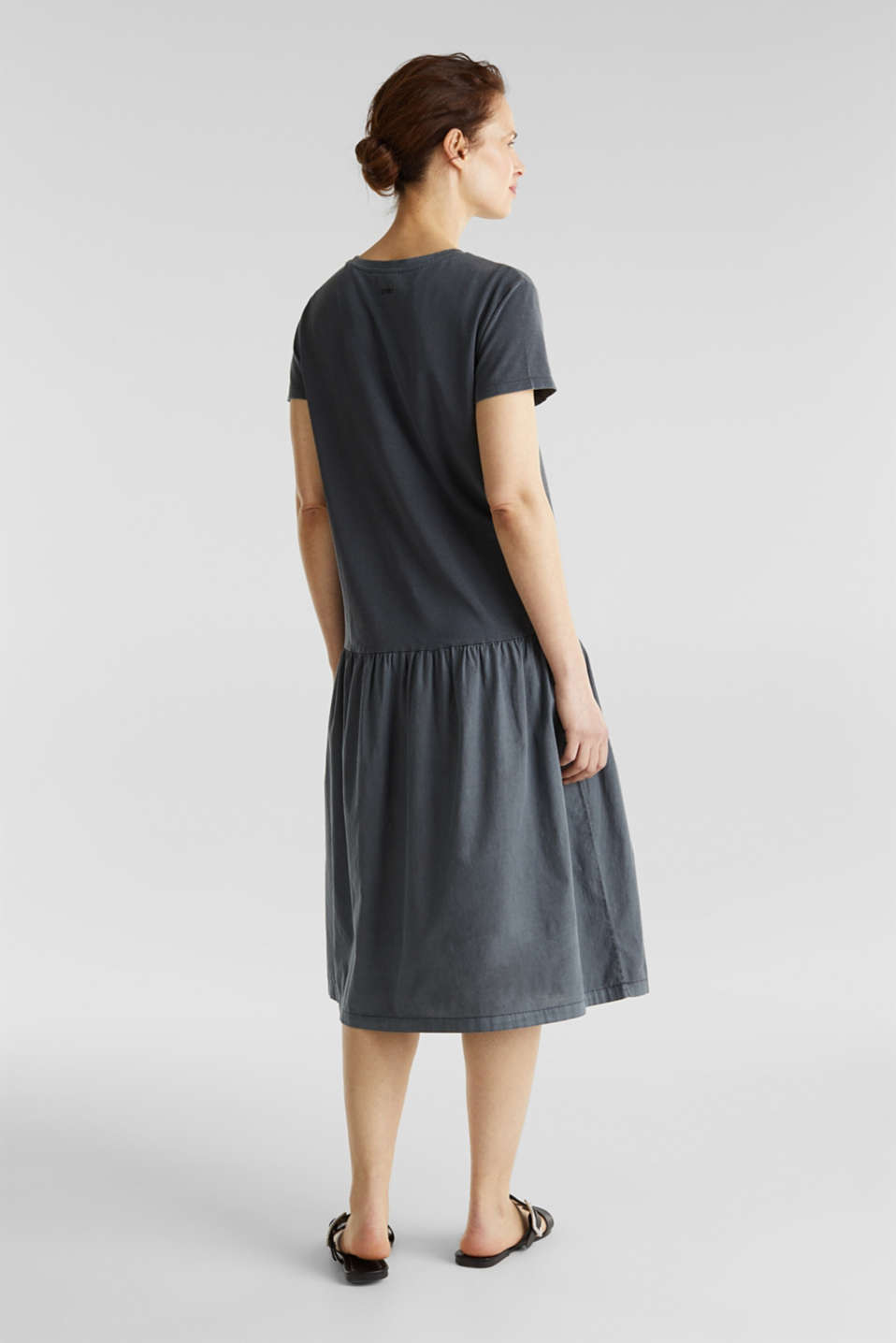Midi dress made of jersey and cloth, GREY, detail image number 2