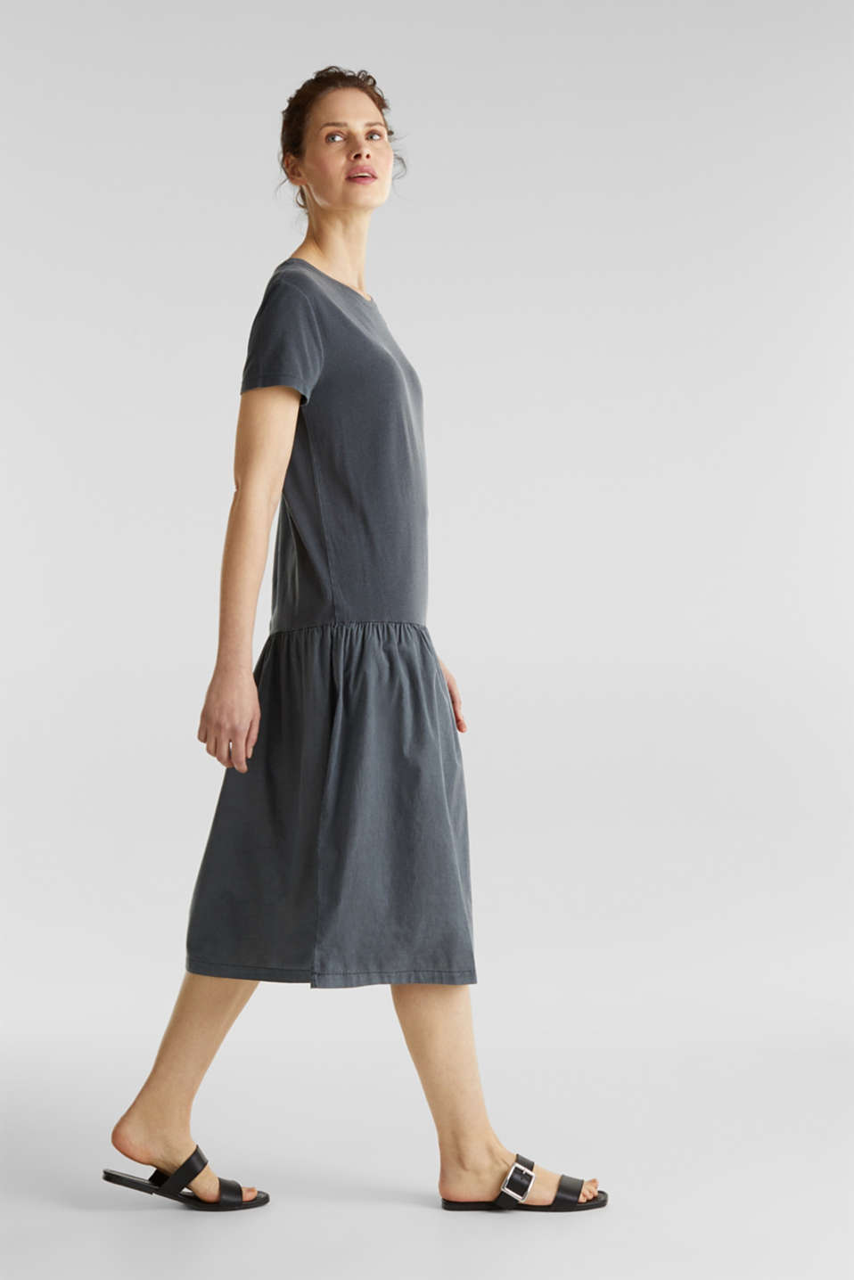 Midi dress made of jersey and cloth, GREY, detail image number 1