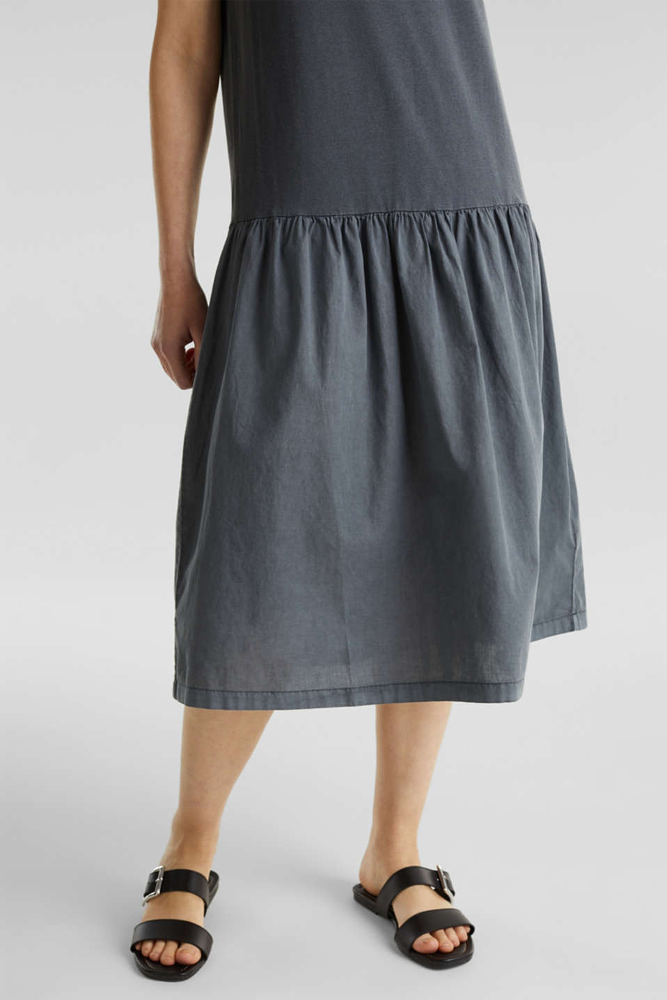 Midi dress made of jersey and cloth, GREY, detail image number 5