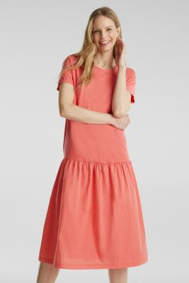 Midi dress made of jersey and cloth, CORAL, detail