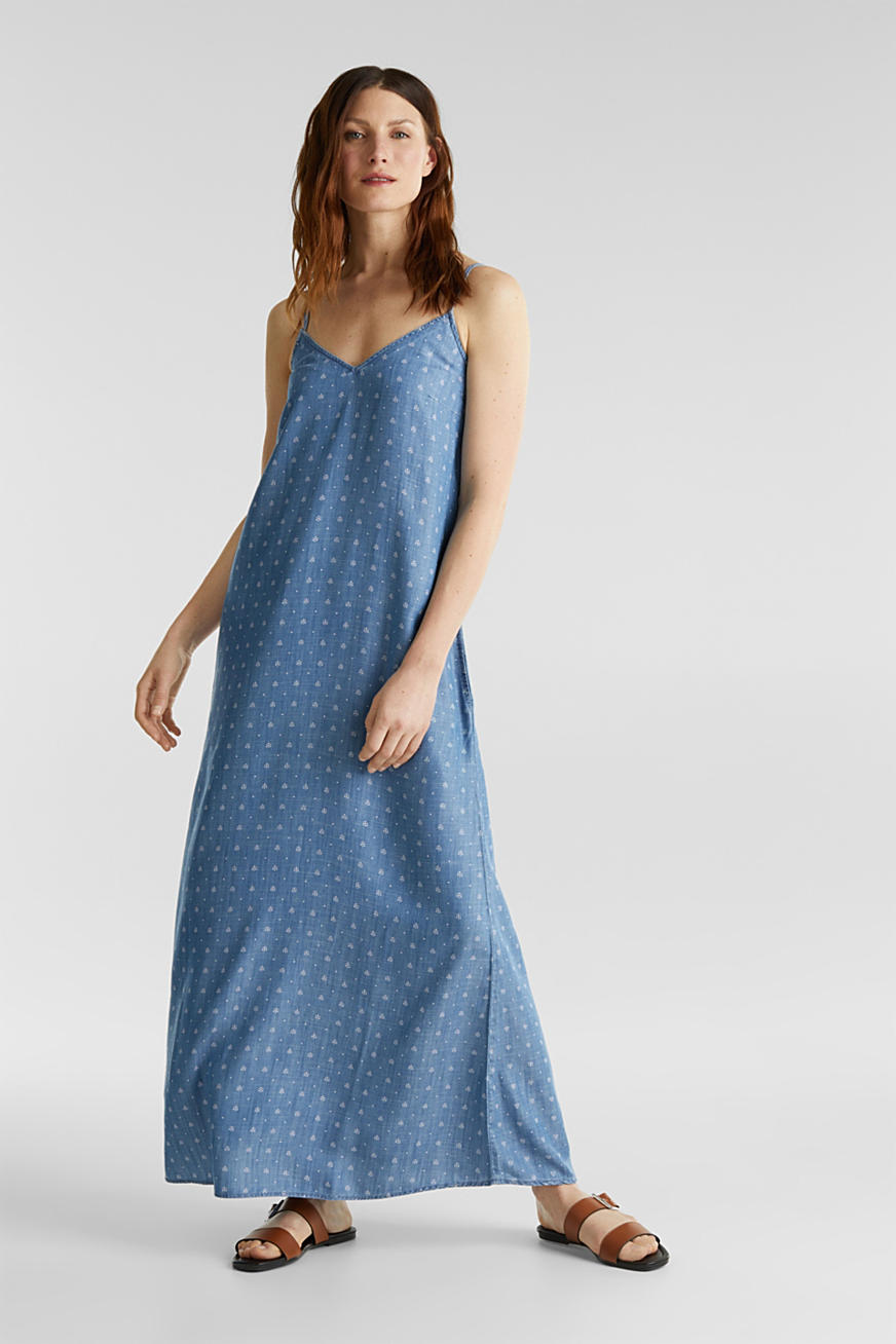 Aus TENCEL™: Maxi-Kleid in Denim-Optik