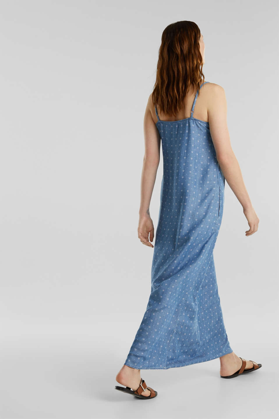 Made of TENCEL™: maxi dress in a denim look, BLUE MEDIUM WASH, detail image number 2