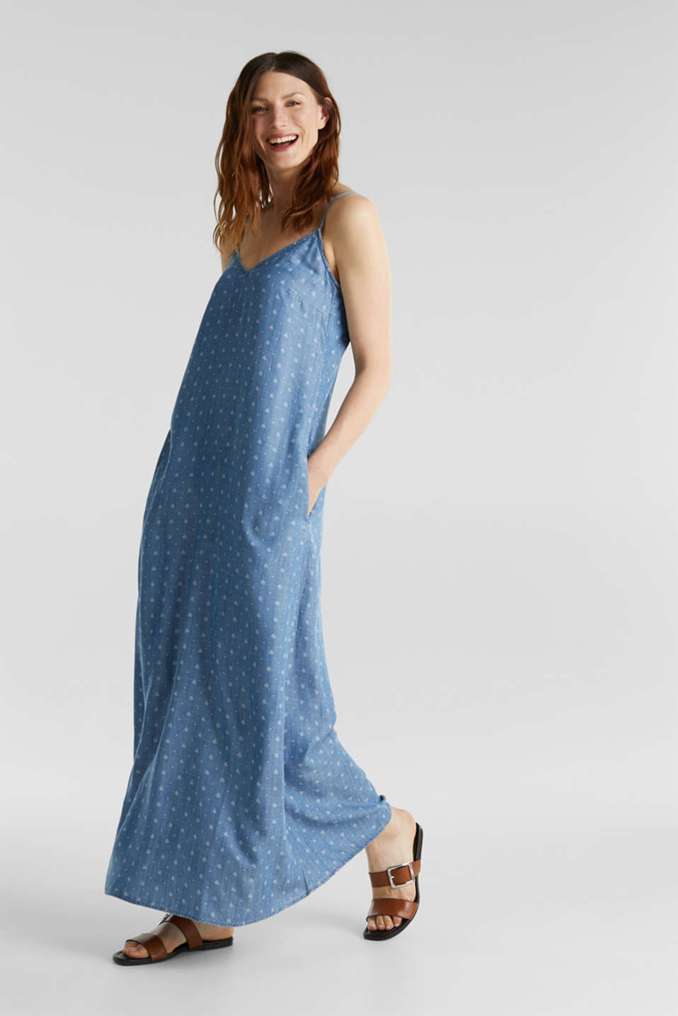 Made of TENCEL™: maxi dress in a denim look, BLUE MEDIUM WASH, detail image number 1