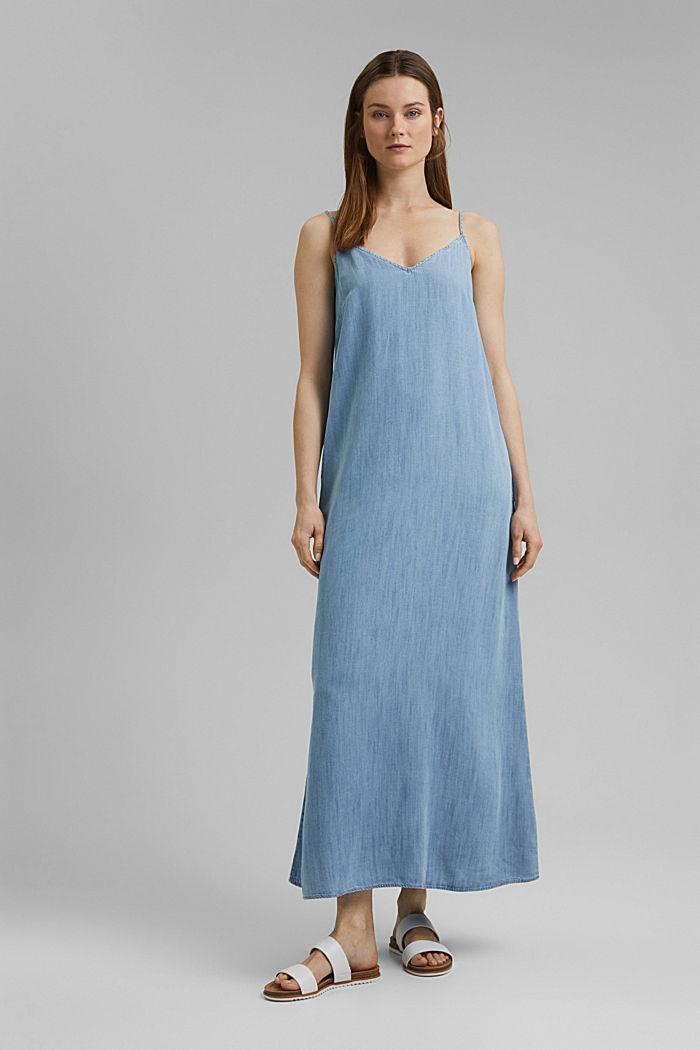 Aus TENCEL™: Maxi-Kleid in Denim-Optik, BLUE BLEACHED, detail image number 0